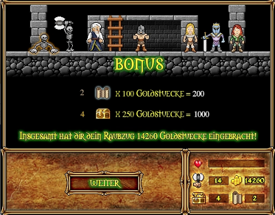 Printscreen von der Levelauswertung beim Flash Game Dungeon of Doom
